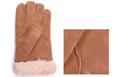 Echt lederen handschoenen met schapenwol voering nu slechts €12,95 | Voor heerlijk warme handen! beige