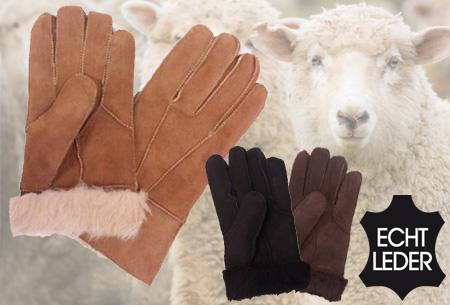 Echt lederen handschoenen met schapenwol voering nu slechts €12,95 | Voor heerlijk warme handen!