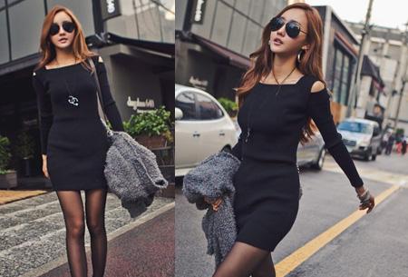 Rib jurk met open schouders nu slechts €12,95 | Hip & vrouwelijk! zwart