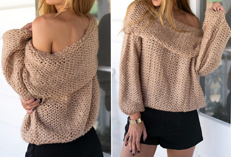 Knitted off shoulder trui nu slechts €19,95 | Stijlvol & comfortabel Khaki