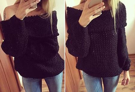 Knitted off shoulder trui nu slechts €19,95 | Stijlvol & comfortabel Zwart