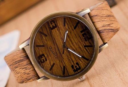 Wooden look horloge nu slechts €7,95 | Stoere horlogeband met hout look!  #1