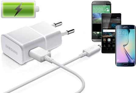Originele Samsung snellader met micro USB kabel nu slechts €12,95 | Apparaten tot wel 4x sneller opladen!