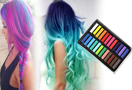Uitwasbaar haarkrijt in 24 kleuren €8,95