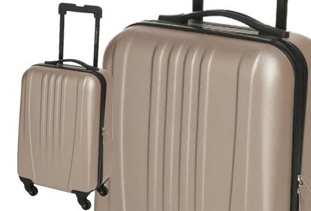 Handbagage koffer + voucher voor twee Europese retour vliegtickets nu slechts €54,95! champagne