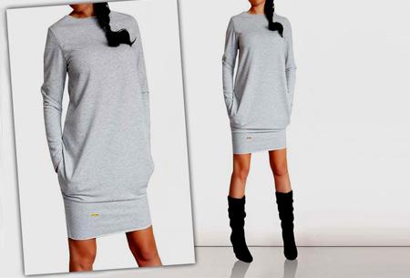 Sweater dress nu slechts €13,95 | Comfortabel en helemaal on trend! Lichtgrijs
