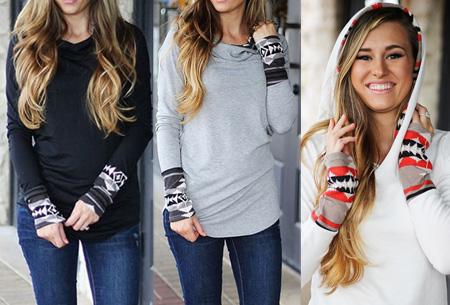 Dames sweater met aztec details nu slechts €17,95 | Basic trui met bohemian touch