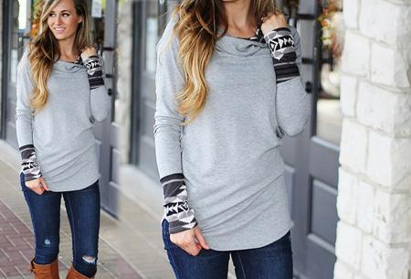 Dames sweater met aztec details nu slechts €17,95 | Basic trui met bohemian touch Grijs