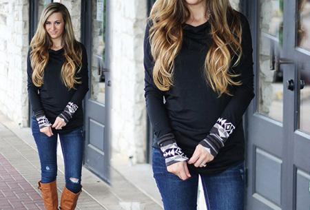Dames sweater met aztec details nu slechts €17,95 | Basic trui met bohemian touch Zwart