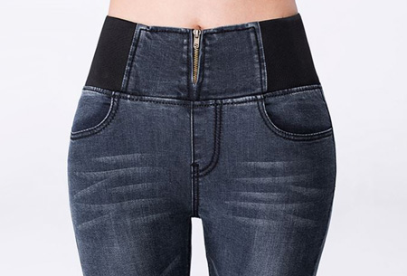 Dames stretch jeans met unieke elastische band nu slechts €24,95 | Laat je lichaam mooi uitkomen!