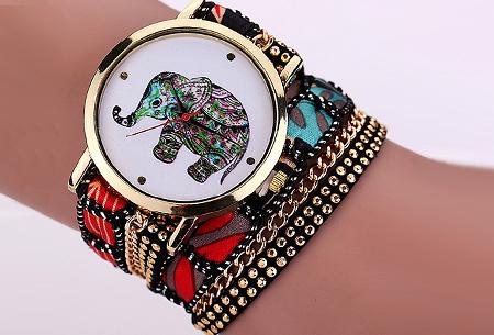 Armbandhorloge met schattig olifantje nu slechts €6,95 | Een armband en horloge in één! Zwart
