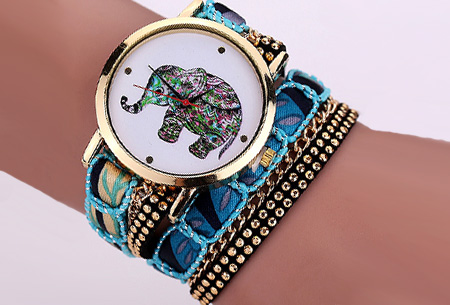 Armbandhorloge met schattig olifantje nu slechts €6,95 | Een armband en horloge in één! Blauw