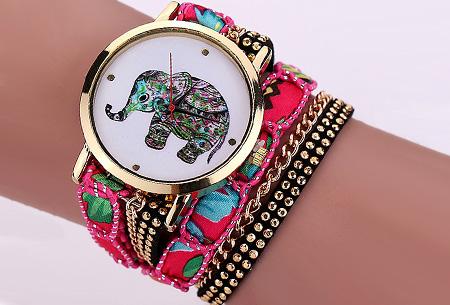 Armbandhorloge met schattig olifantje nu slechts €6,95 | Een armband en horloge in één! Roze