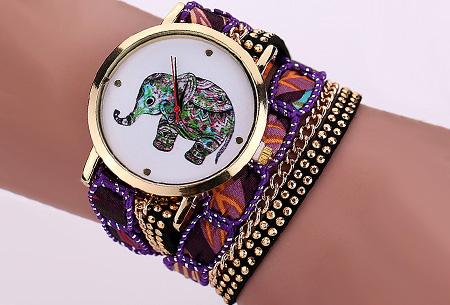 Armbandhorloge met schattig olifantje nu slechts €6,95 | Een armband en horloge in één! Paars