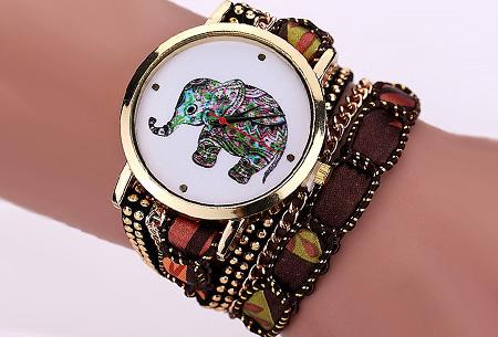 Armbandhorloge met schattig olifantje nu slechts €6,95 | Een armband en horloge in één! Bruin