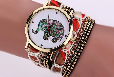 Armbandhorloge met schattig olifantje nu slechts €6,95 | Een armband en horloge in één! Rood