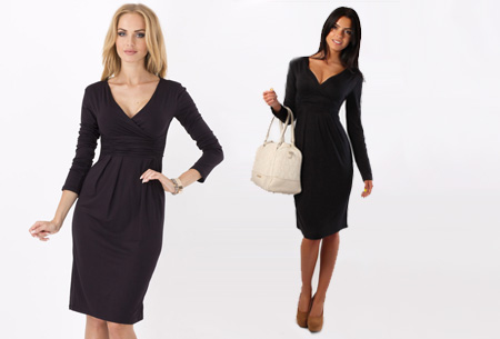Dames chique jurk nu slechts €17,95 | Camoufleert je probleemzones!  Zwart