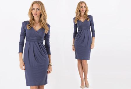 Dames chique jurk nu slechts €17,95 | Camoufleert je probleemzones!  Grijsblauw
