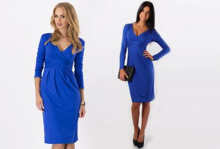 Dames chique jurk nu slechts €17,95 | Camoufleert je probleemzones!  Blauw