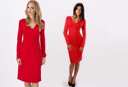 Dames chique jurk nu slechts €17,95 | Camoufleert je probleemzones!  Rood