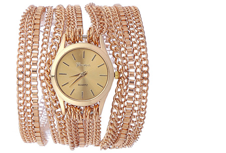 Geneva armbandhorloge nu slechts €7,95 | Hippe en stoere accessoire! goudkleurig