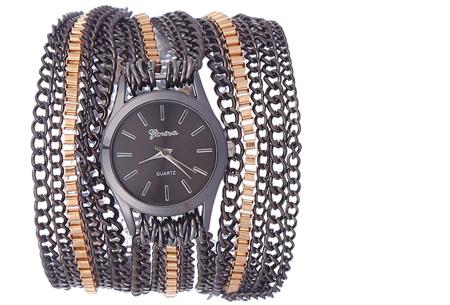 Geneva armbandhorloge nu slechts €7,95 | Hippe en stoere accessoire! zwart