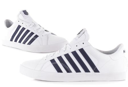 K-Swiss lederen heren sneakers al vanaf slechts €44,95 | Mis de korting niet! Belmont SO - Navy Stripe