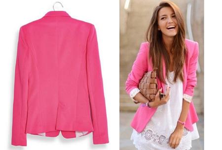 Mooie dames blazer verkrijgbaar in 8 kleuren, nu voor slechts €14,95!   Fuchsia