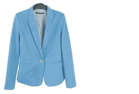 Mooie dames blazer verkrijgbaar in 8 kleuren, nu voor slechts €14,95!   Babyblauw