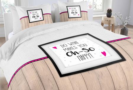 Topkwaliteit dekbedovertrekken van 100% zacht katoen nu al vanaf €14,95! Keuze uit 6 designs #6 oh-so happy