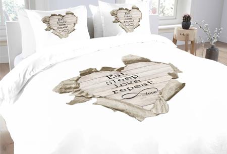 Topkwaliteit dekbedovertrekken van 100% zacht katoen nu al vanaf €14,95! Keuze uit 6 designs #3 love repeat