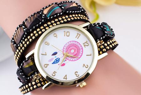 Dromenvanger armbandhorloge nu slechts €6,95! Hippe en vrolijke eyecatcher met een bohemian touch zwart