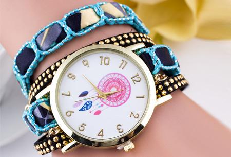 Dromenvanger armbandhorloge nu slechts €6,95! Hippe en vrolijke eyecatcher met een bohemian touch blauw