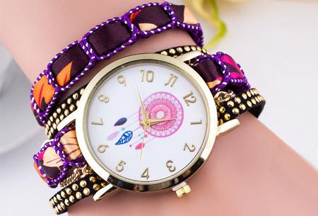 Dromenvanger armbandhorloge nu slechts €6,95! Hippe en vrolijke eyecatcher met een bohemian touch paars