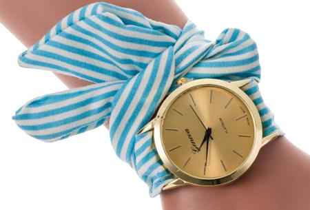 Geneva lint armbandhorloge nu slechts €6,95 | Chique & stijlvolle accessoire Blauw