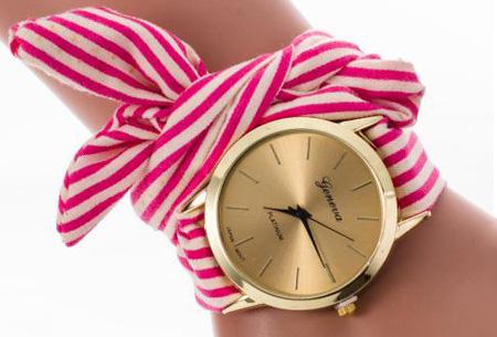 Geneva lint armbandhorloge nu slechts €6,95 | Chique & stijlvolle accessoire Fuchsia