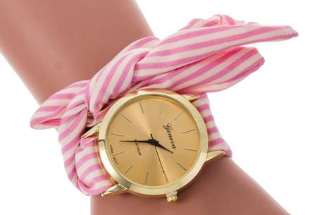 Geneva lint armbandhorloge nu slechts €6,95 | Chique & stijlvolle accessoire Roze