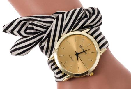 Geneva lint armbandhorloge nu slechts €6,95 | Chique & stijlvolle accessoire Zwart
