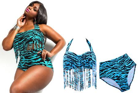 Plus size bikini | Voor de maten L t/m XXXL in 11 verschillende kleuren Zebra Zwart/Blauw