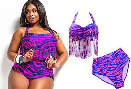 Plus size bikini | Voor de maten L t/m XXXL in 11 verschillende kleuren Zebra Paars