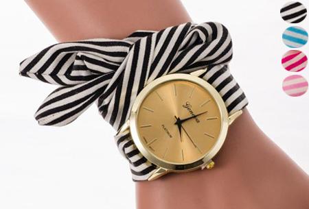 Geneva lint armbandhorloge nu slechts €6,95 | Chique & stijlvolle accessoire