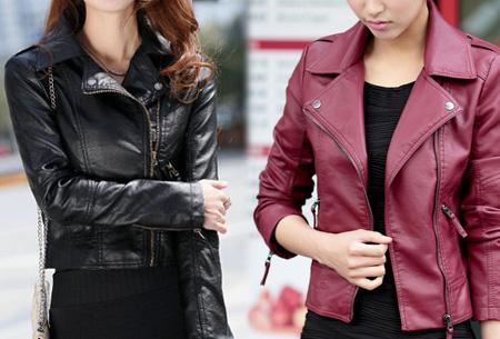 Leather look biker jasje nu slechts €24,95