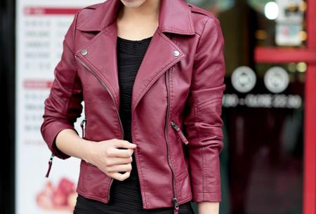 Leather look biker jasje nu slechts €24,95 | De ultieme basic voor elke vrouw! Bordeaux