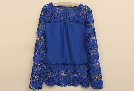 Kanten dames shirt | Fashionable lace top Donkerblauw