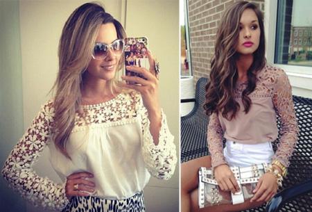 Kanten dames shirt | Fashionable lace top