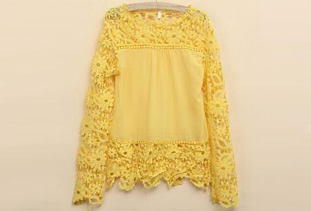 Kanten dames shirt | Fashionable lace top Geel