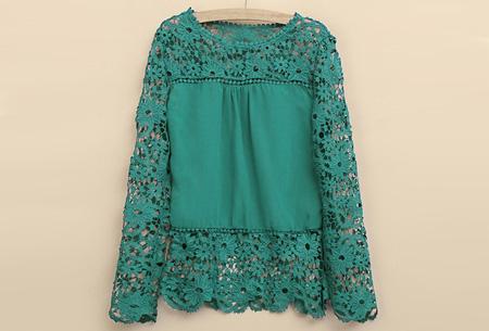 Kanten dames shirt | Fashionable lace top Groen