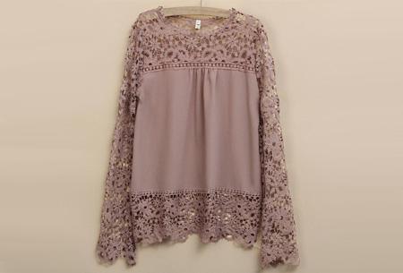 Kanten dames shirt | Fashionable lace top Khaki