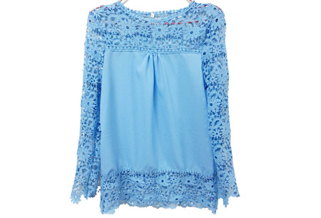 Kanten dames shirt | Fashionable lace top Lichtblauw