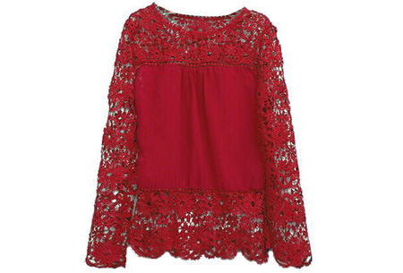 Kanten dames shirt | Fashionable lace top Rood